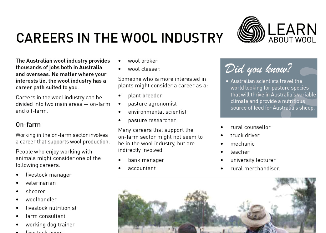 Careers in the wool industry