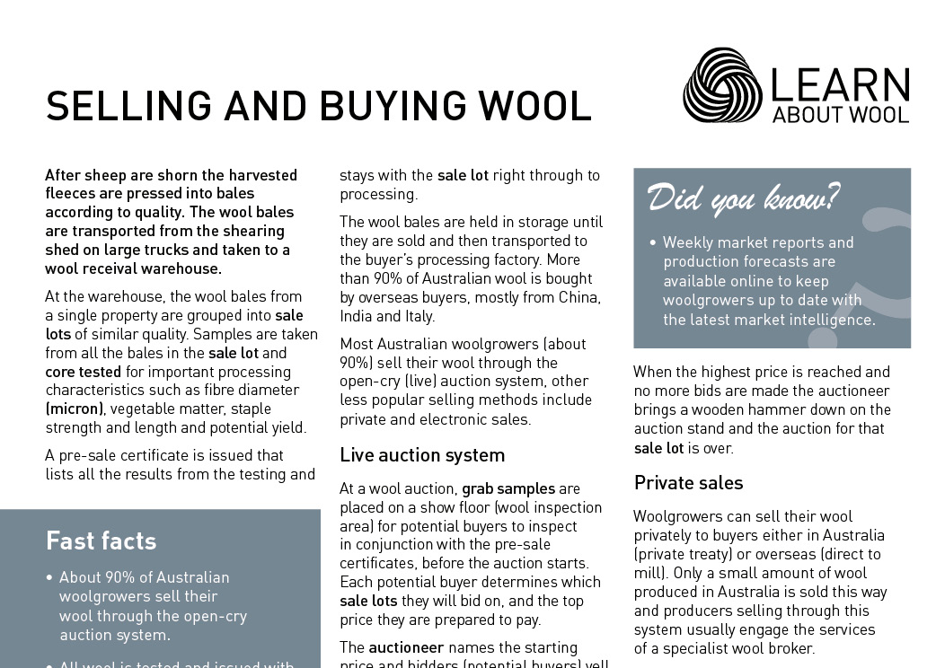 Selling and buying wool