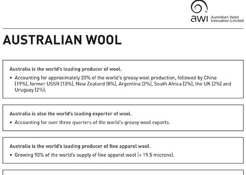Australian wool factsheet