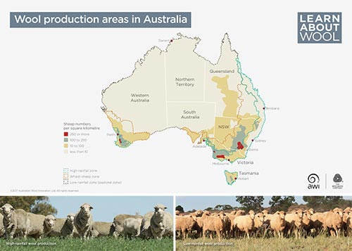 Wool production areas in Australia
